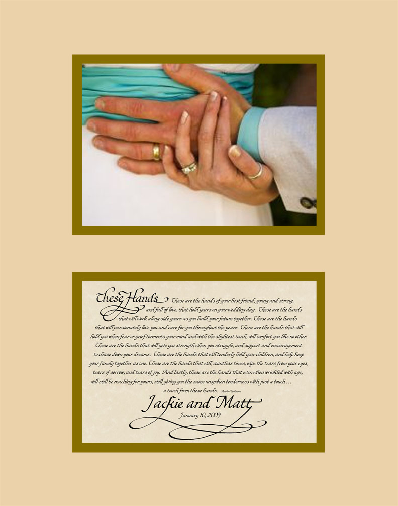 Below These Hands Wedding Poem On Parchment Background