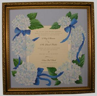 Painted Wedding Invitation With Hydrangeas